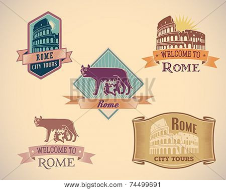 Set of retro-styled Rome city tour labels. Editable vector illustration.