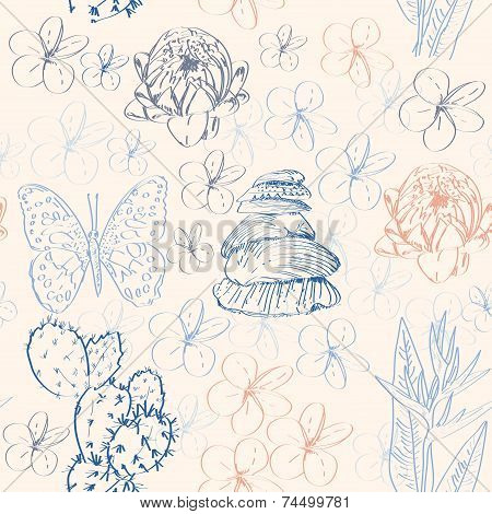 Seamless Pattern With Cactus, Butterflies, Flowers And Shells. Vector