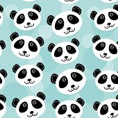 stock photo of cute animal face  - Panda Seamless pattern with funny cute animal face on a blue background - JPG