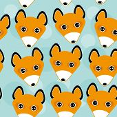 picture of cute animal face  - Fox Seamless pattern with funny cute animal face on a blue background - JPG