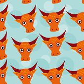 stock photo of cute animal face  - Bull Seamless pattern with funny cute animal face on a blue background - JPG