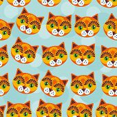 stock photo of cute animal face  - Cat Seamless pattern with funny cute animal face on a blue background - JPG