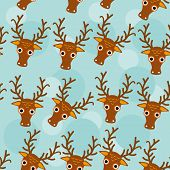 image of cute animal face  - Deer Seamless pattern with funny cute animal face on a blue background - JPG