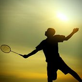 picture of badminton player  - Silhouette of Badminton Player against Evening Sky - JPG