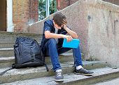 stock photo of depressed teen  - Sad Student with the Book on the landing steps - JPG