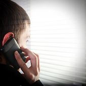 picture of jalousie  - Young Man see through the Jalousie and talking on Cellphone - JPG