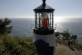 stock photo of mear  - View of the Cape Meares lighthouse on the Oregon Coast - JPG