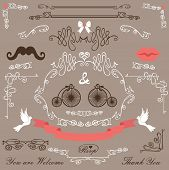 Постер, плакат: Vintage Wedding design elements set