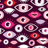 stock photo of eye-wink  - Seamless eyes and lips love for valentine fun retro style illustration background pattern in vector - JPG