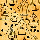image of caged  - seamless pattern with decorative bird cage Silhouettes on floral background - JPG