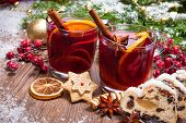 picture of christmas cookie  - Two glasses of mulled wine with christmas decoration - JPG