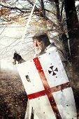 stock photo of templar  - Templar knight in the woods ready for battle - JPG