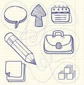 stock photo of bubble sheet  - Set of sketch doodle business management infographics elements icons background in the box - JPG