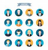 foto of emo-boy  - Set of stylish avatar of male and woman icons in flat design - JPG