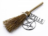 picture of magickal  - A magical witches broom pentacle talisman and silver banner printed with spells - JPG