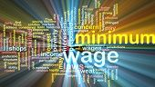 stock photo of sweatshop  - Word cloud concept illustration of minimum wage glowing light effect - JPG