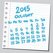 stock photo of october  - Calendar 2015 october  - JPG
