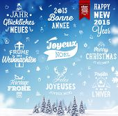 stock photo of bonnes  - Christmas Decoration Set of Calligraphic and Typographic Design - JPG