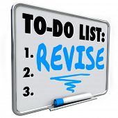 pic of modifier  - Revise word written on a to do list on dry erase board to illustrate a change - JPG