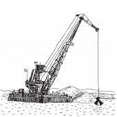 picture of backhoe  - Huge crane barge Industrial ship that digs sand marine dredging digging sea bottom Sketch - JPG
