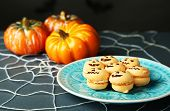 foto of spiderwebs  - Tasty Halloween macaroons decorative spiderweb - JPG