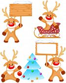 foto of rudolph  - Set of separately grouped little Rudolphs - JPG