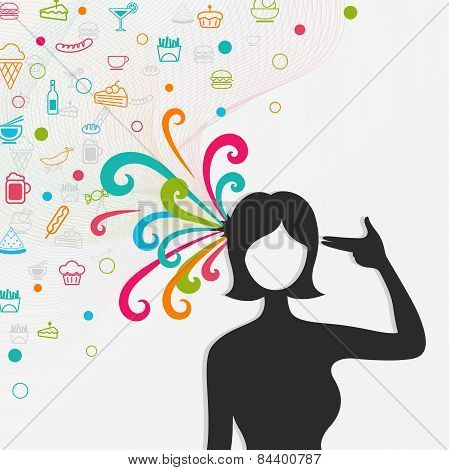A Silhouette Woman's Head Explodes With Lots Of Food And Candy While She Shot Herself, Create By Vec