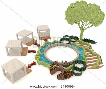 Green Renewable Energy For Modern Lifestyle In 3D Design