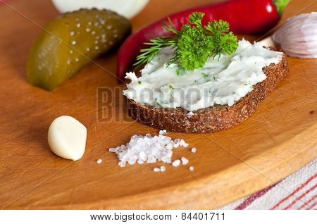 Lard Spread On Rye Bread Close Up