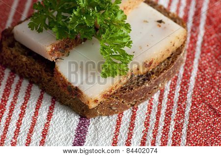 Sandwich With Spiced Lard Close Up