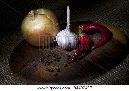 Spicy Vegetables On Cutting Board