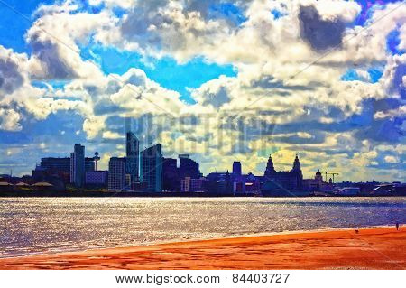 A Digitally Constructed Painting Of Liverpool Waterfront