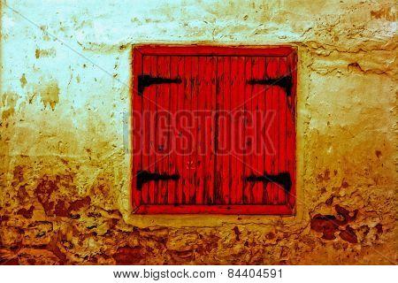 Digital Painting Of Colorful Broken Wooden Window Shutters
