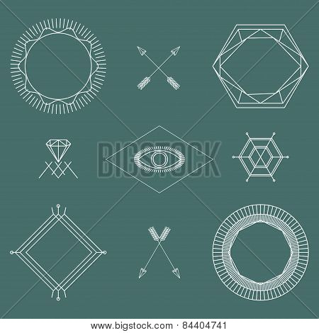 Abstract Hipster Outline Symbols And Badges Set