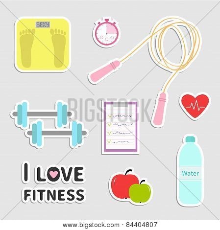 Timer Whater, Dumbbell, Apple, Jumping Rope, Scale, Note Heart I Love Fitness Icon Set Isolated Flat