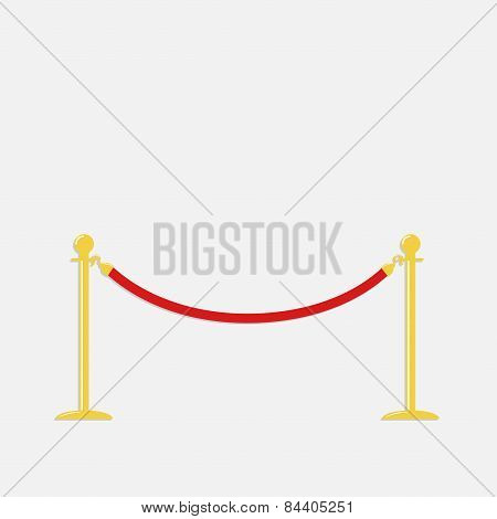 Red Rope Barrier Golden Stanchions Turnstile Isolated Template Flat Design