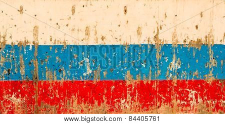 Wooden Russian Flag And Puck Marks