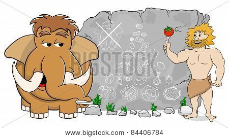 Mammoth Explains Paleo Diet Using A Food Pyramid Drawn On Stone