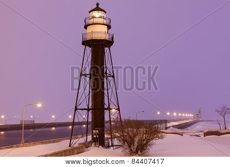Duluth Harbor South Breakwater Inner Lighthouse During Snow Storm