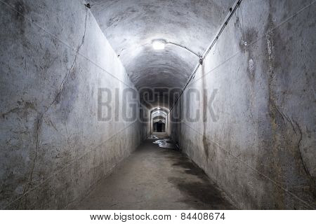 Ruined Corridor With Lamps.