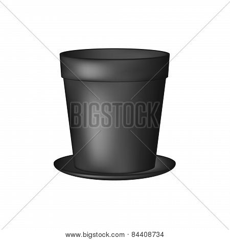 Empty flowerpot in black design