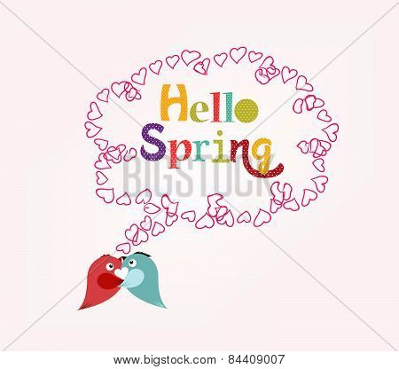 Hello Spring with heart bubble