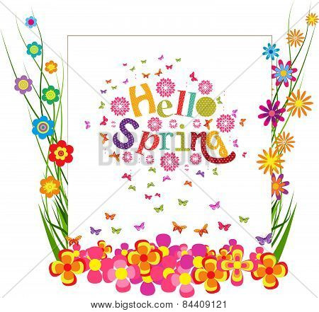 hello spring with grass and butterfly colorful banner