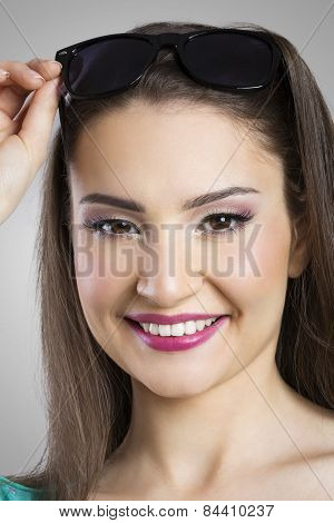 Portrait of joyful woman