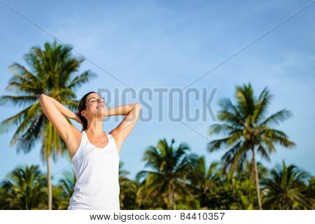 Woman Relaxing On Tropical Caribbean Vacation To Mexico