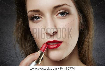 Close up of woman with red lipstick