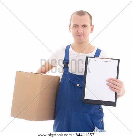 Delivery Concept - Man In Workwear Holding Cardboard Box And Clipboard With Copy Space Isolated On W