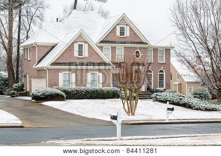 Brick House After Snow