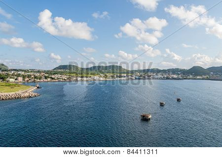 Concrete Mooring Platforms In Blue Sea