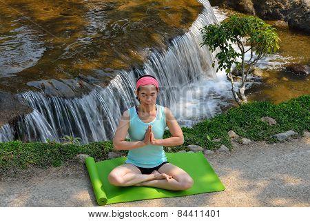 Woman practicing yoga